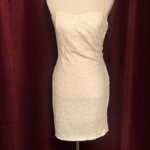 BEBE White Sequence Dress